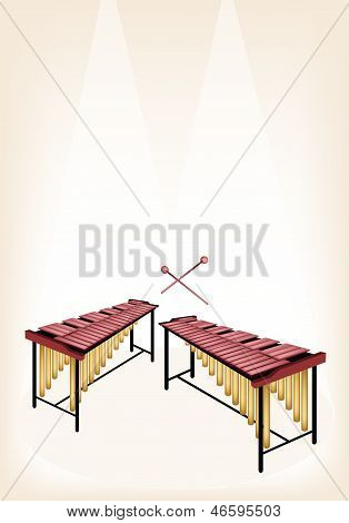 Two Retro Marimba On Brown Stage Background