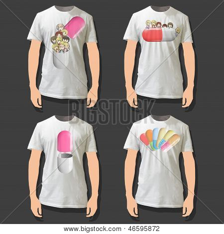 Pills Printed On White Shirt. Vector Illustration.