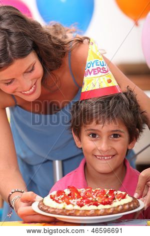 Young boy celebrating his birthday