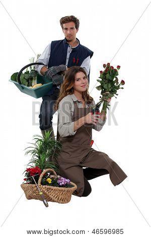 a male vegetable farmer and a female florist