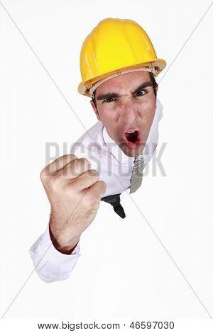 Excitable architect waving fist