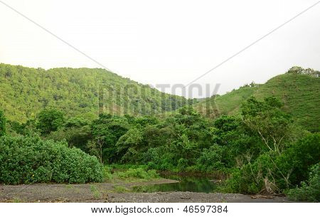 Natural Mountains And River In Tropical Rainforest In Panama