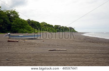 Boat On The Beach In The Wilderness Of Central America