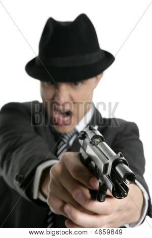 Classic Mafia Portrait, Man With Black Suit And Gun