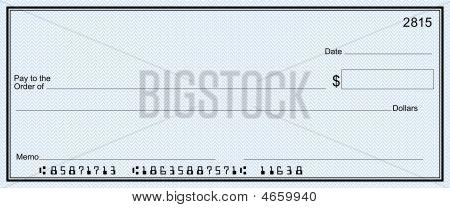 Cheque en blanco azul (cuenta falsa)