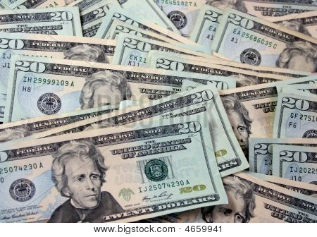 Bunch Of 20 Dollar Bills - Dollars