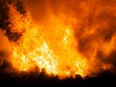 stock photo of red roof  - Arson or nature disaster  - JPG
