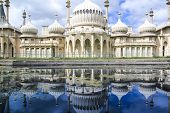 picture of royal palace  - onion domes towers and minarets forming the roof of the royal pavilion palace in brighton england King George IV - JPG