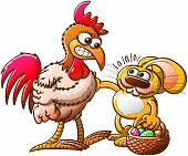 stock photo of fighting-rooster  - Nice Easter bunny in trouble when meeting an angry rooster - JPG