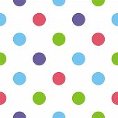 Seamless vector colorful polka dots pattern or texture with white background