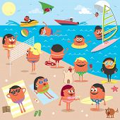 stock photo of hang-gliding  - Cartoon illustration of busy beach - JPG