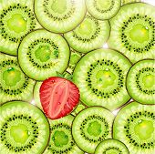 Kiwi and strawberry background with sun shine and water drops for fresh summer design. Vector illust