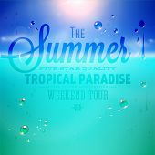 pic of beach holiday  - Summer holidays typography background with sun - JPG