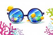 stock photo of biodiversity  - coral reef in sunglasses on a white background - JPG