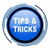 tips circle blue glossy icon