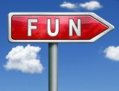 pic of indications  - fun and pleasure roadsign indicating directions fun button fun icon red road sign arrow - JPG