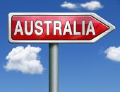stock photo of continent  - Australia down under continent tourism holiday vacation economy country road sign arrow - JPG