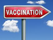 stock photo of flu shot  - flu vaccination needle immunization shot red road sign arrow with text and word concept - JPG