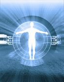 stock photo of human body  - conceptual illustration, male silhouette,