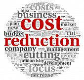 foto of reduce  - Costs reduction concept in word tag cloud - JPG