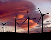 foto of wind blown  - wind propellers back lit by colorful wind blown clouds - JPG