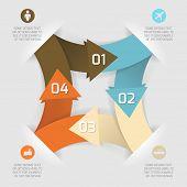 Постер, плакат: Современный бизнес оригами стиль параметры бумаги баннер Векторные иллюстрации с комплектом иконы Полезно для мы