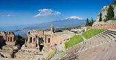 stock photo of greeks  - Ruins of the Greek Theater Taormina Sicily Italy - JPG