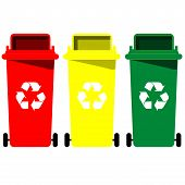 stock photo of recycling bin  - the collection of different color recycle bins - JPG