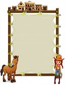 picture of cowgirl  - Illustration of an empty signage with a cowgirl and a horse on a white background - JPG