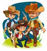 Illustration of the three cowboys in different positions on a white background
