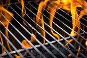 picture of charcoal  - Orange charcoal fire under the grill lattice - JPG