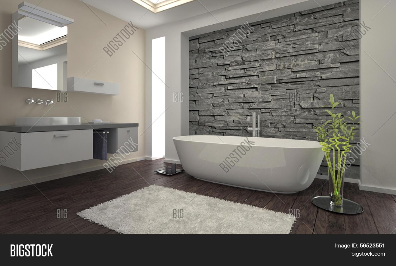 salle de bains design moderne avec baignoire et mur de pierre - Salle De Bain Moderne Avec Baignoire