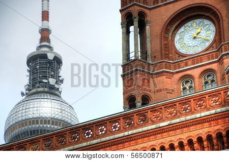 Detail of exterior of the Rotes Rathaus in Berlin, Germany