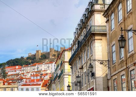 Buildings in Baixa district, Lisbon, Portugal