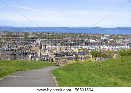 Panorama of the city from the Calton Hill in Edinburgh, Scotland