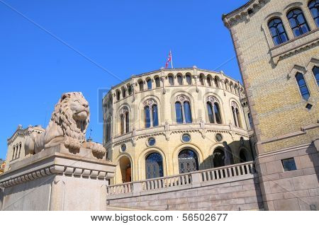 Exterior of the Parliament of Norway in Oslo, Norway
