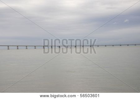 Waterscape with Vasco da Gama Bridge in Lisbon, Portugal