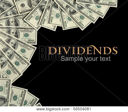 Dividends background concept and place for the text