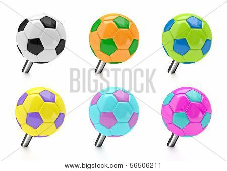 Soccer ball push pin