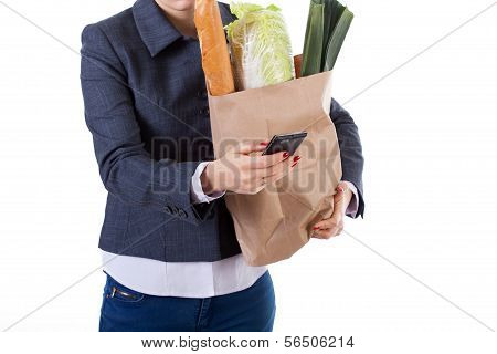 Active Woman With Phone And Shopping