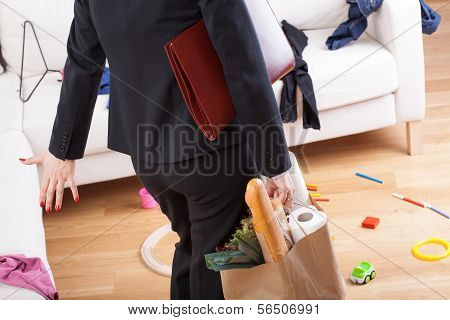 Woman Coming Home And See Mess