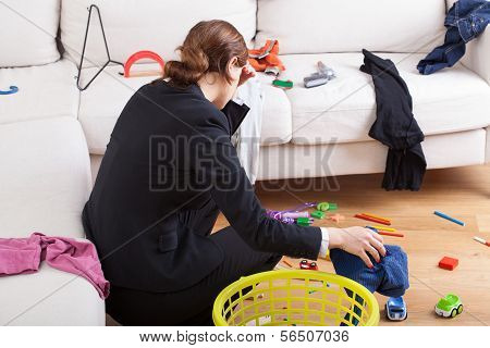 Busy Woman Is Tired Her Workload