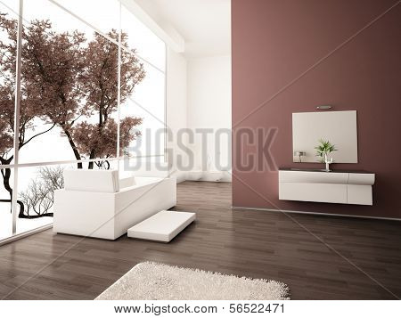 Modern bathroom with white bath tub against floor to ceiling window