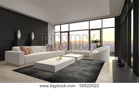 Modern Loft Living Room with Sunset / Sunrise View