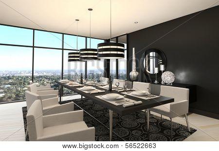 A 3d rendering of Modern Design Dining Room | Living Room Interior
