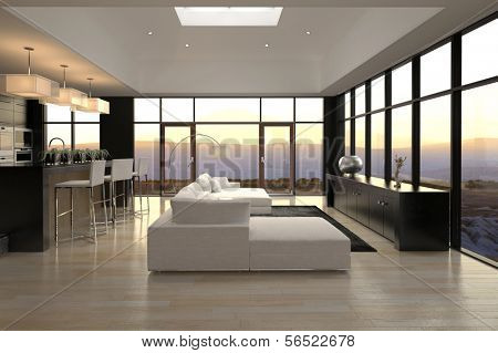 A 3d rendering of Modern Loft Living Room with Landscape View