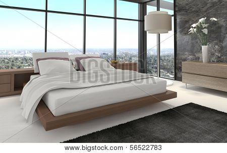 3d rendering of modern bedroom with floor to ceiling windows and landscape view