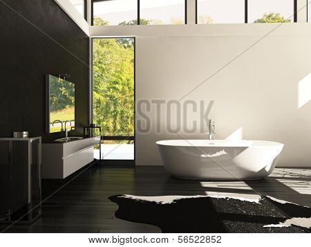 A 3d rendering of modern design bathroom