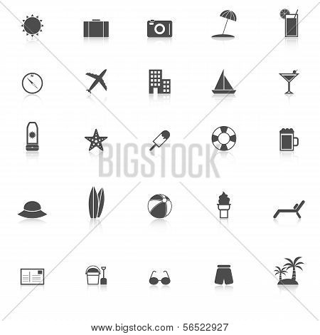 Summer Icons With Reflect On White Background