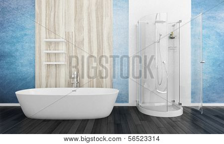 Bathroom interior with bathtub and shower cubicle